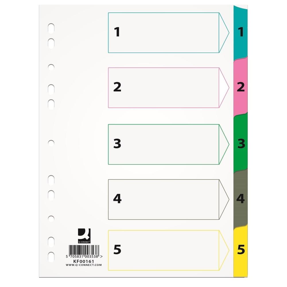 Index carton alb Mylar numeric 1- 5, A4, Q-Connect