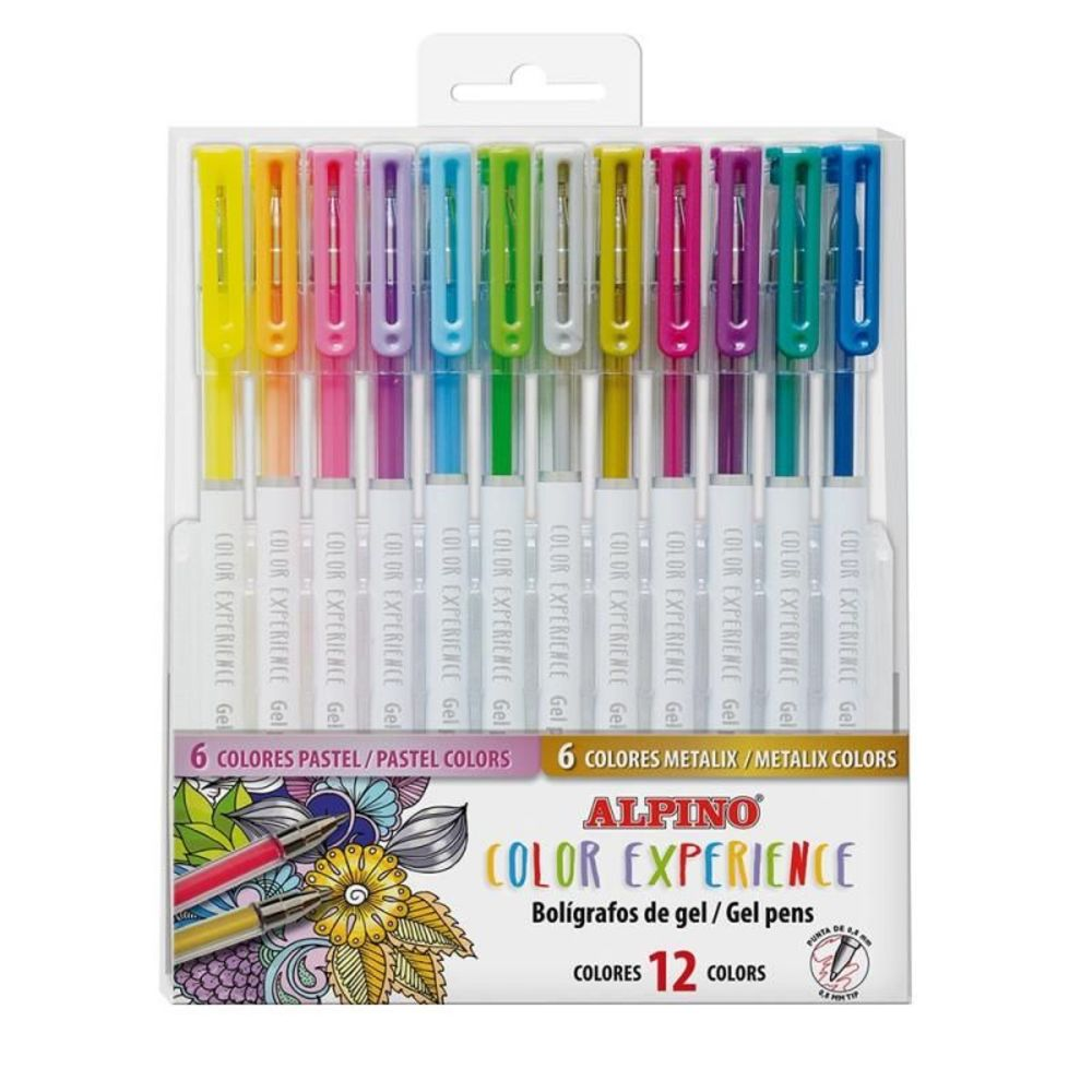 Pix cu gel, varf 0.8mm, 12 culori/set (6 pastel + 6 metalizate), ALPINO Color Experience