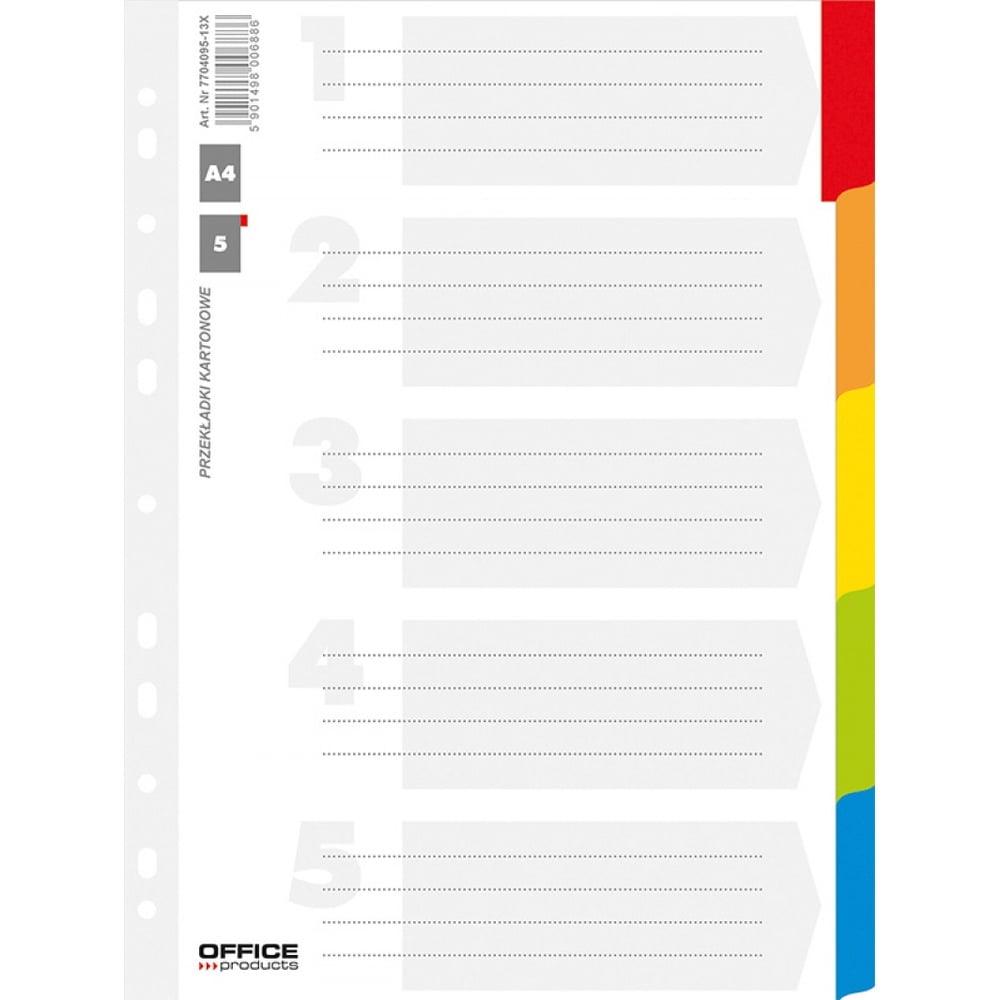 Separatoare carton A4, 5 culori/set, Office Products