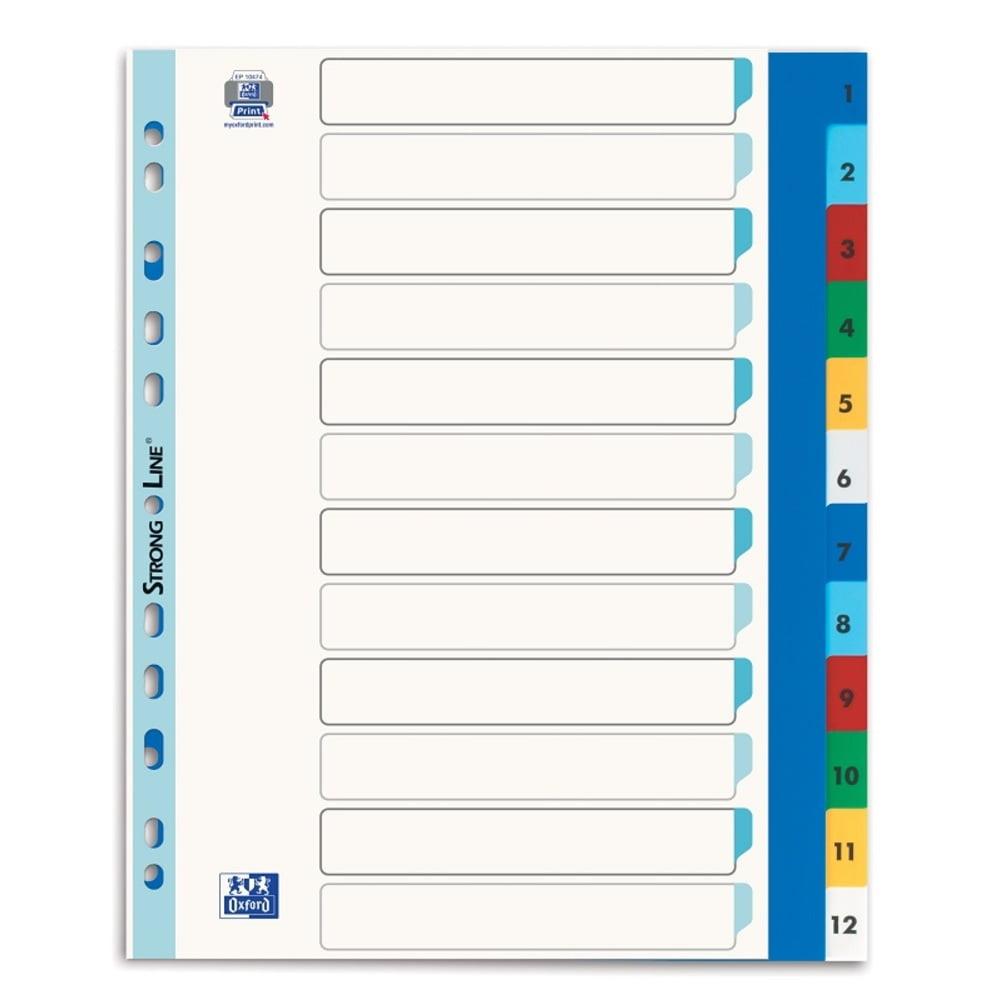 Index plastic color numeric 1-12, A4 XL, 120 microni, OXFORD