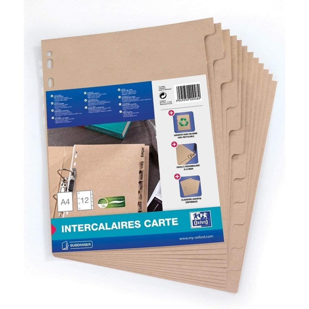 Separatoare carton reciclat, A4, 12 buc/set, OXFORD Touareg