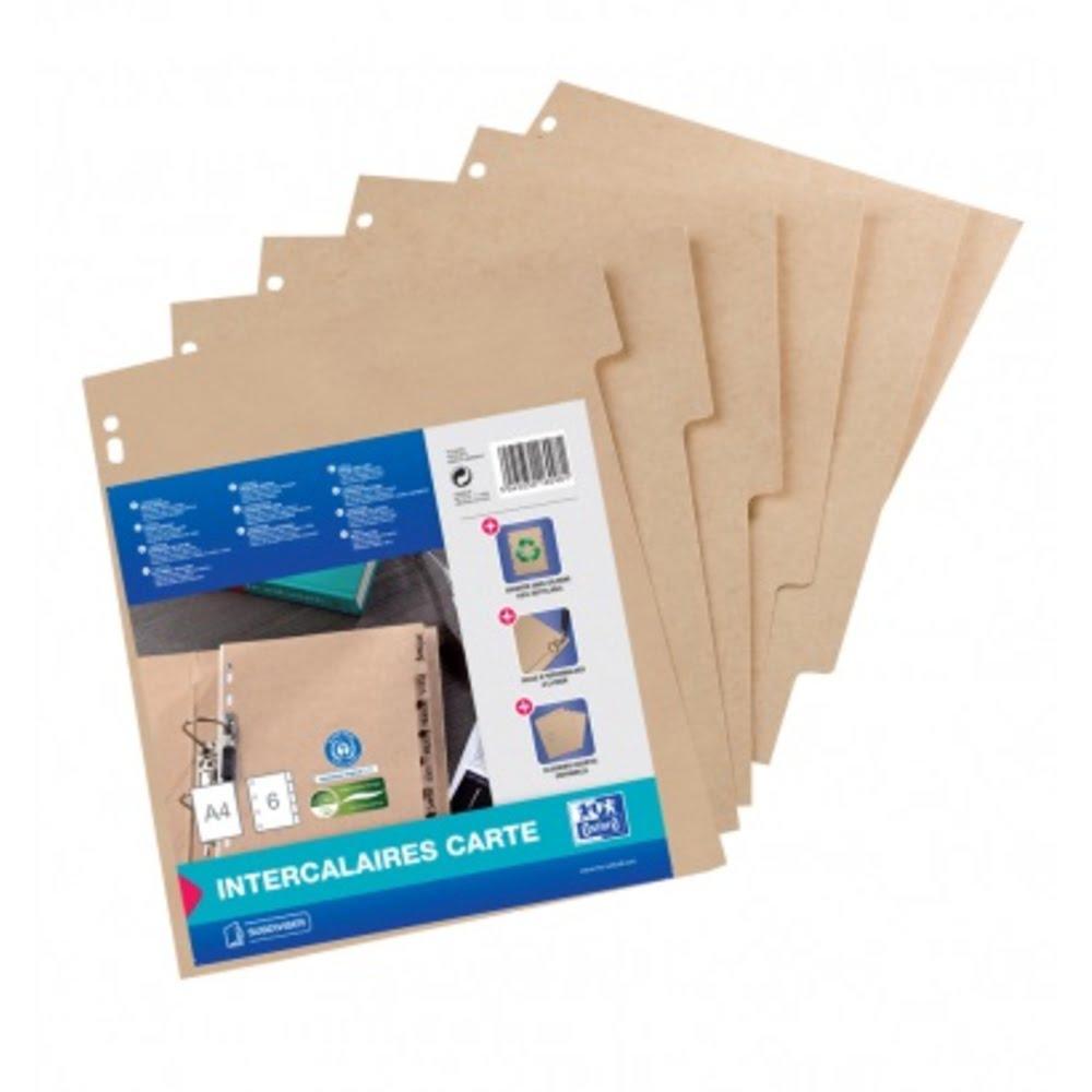 Separatoare carton reciclat, A4, 6 buc/set, OXFORD Touareg