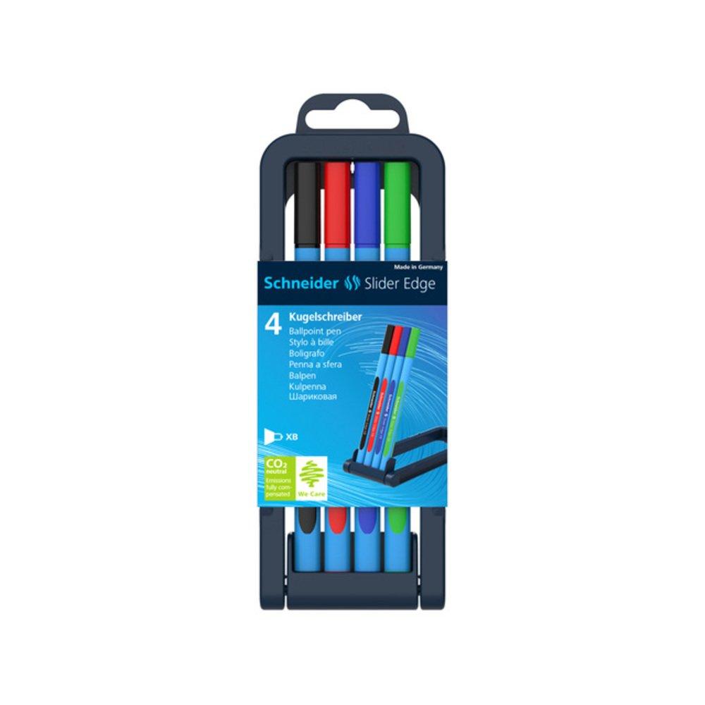 Pix cu rubber grip SCHNEIDER Slider Edge XB, varf 1.4mm, 4 culori/set