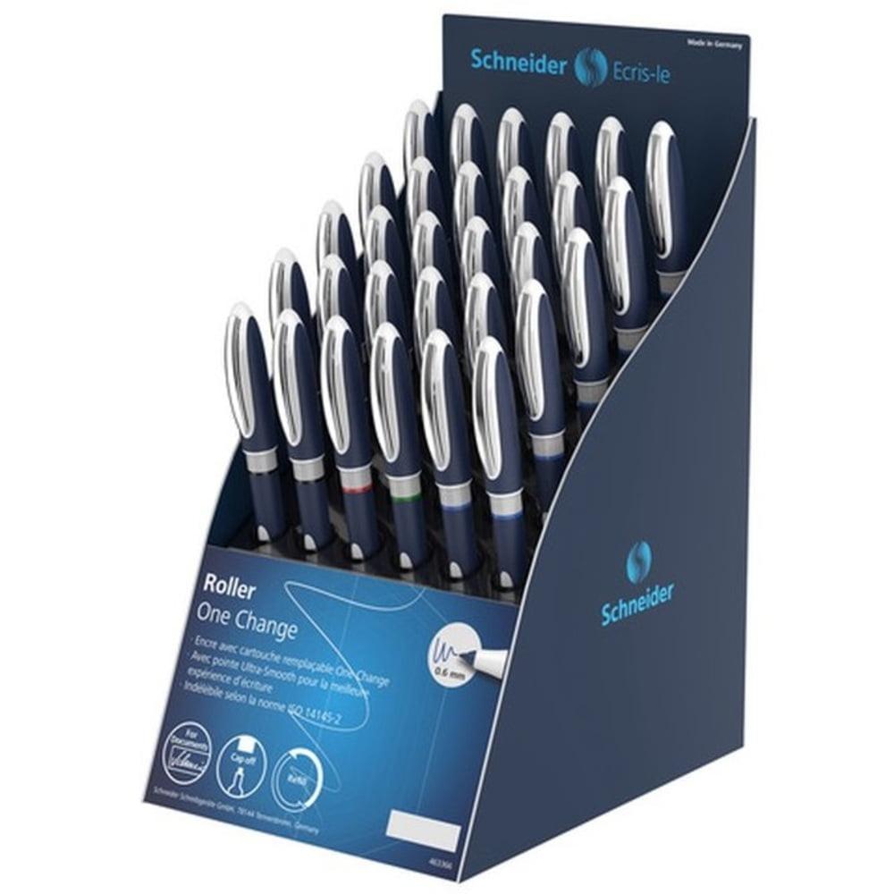 Display roller SCHNEIDER One Change, 30 rollere cu cerneala 0.6mm-(12x albastru,negru, 3x rosu,verde)