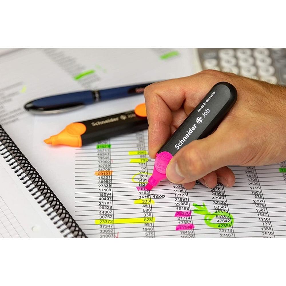 Display SCHNEIDER Job, 35 textmarkere -(14x galben, 7x verde, 4x orange,roz, 3x albastru, rosu)