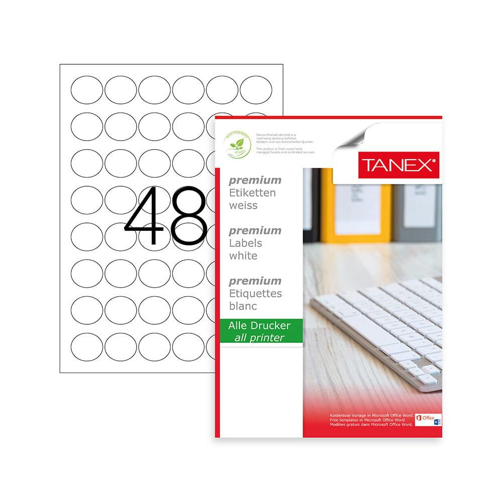 Etichete albe autoadezive, repozitionabile, rotunde - D30mm, 48/A4, 25 coli/top, TANEX