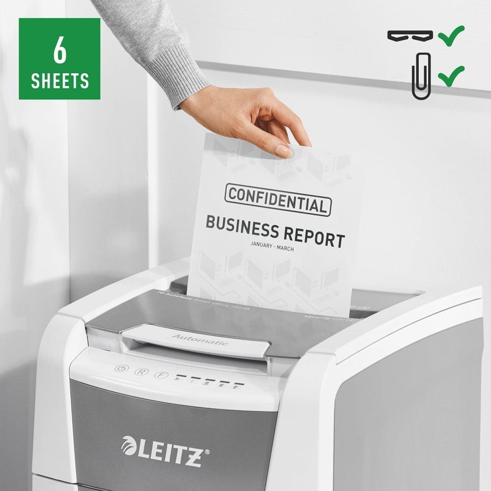 Distrugator documente automat LEITZ IQ Small Office, P5, micro-cut, 100 coli