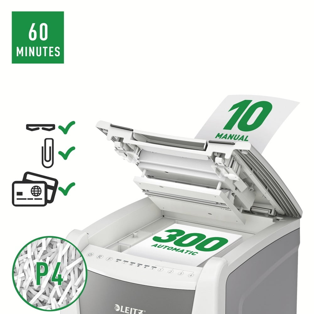 Distrugator documente automat LEITZ IQ Office, P4, cross-cut, 300 coli