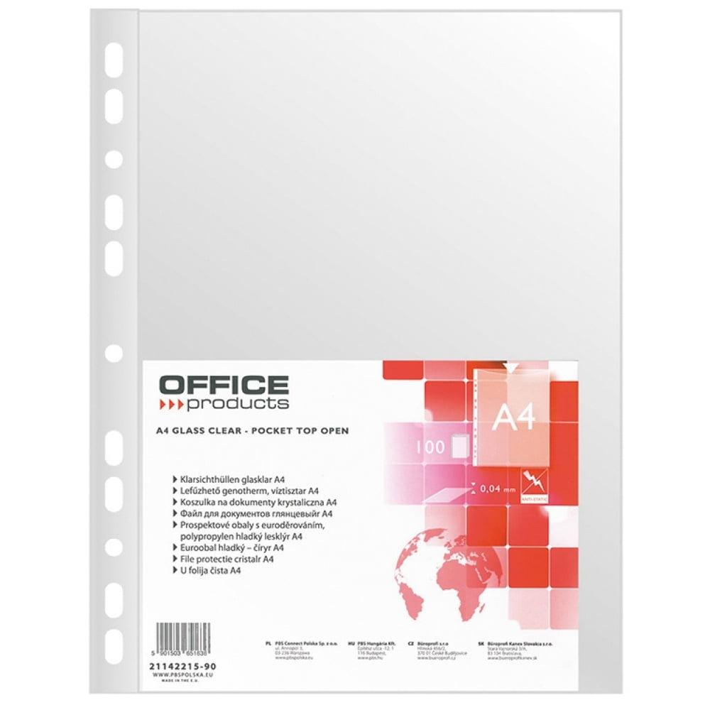 File protectie documente cristal, A4, 40 microni, 100folii/set, Office Products