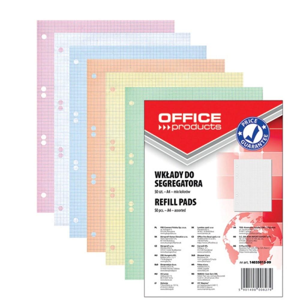 Rezerva A4 pentru caiet mecanic, 50 file/set, Office Products - matematica - hartie color