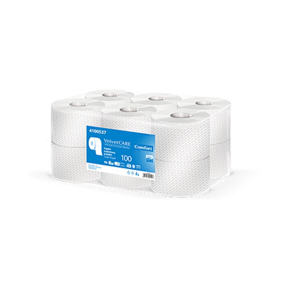 Hartie igienica alba Jumbo, 2 straturi, 800 portii, 100m, 12 role/bax, VELVET Professional Comfort